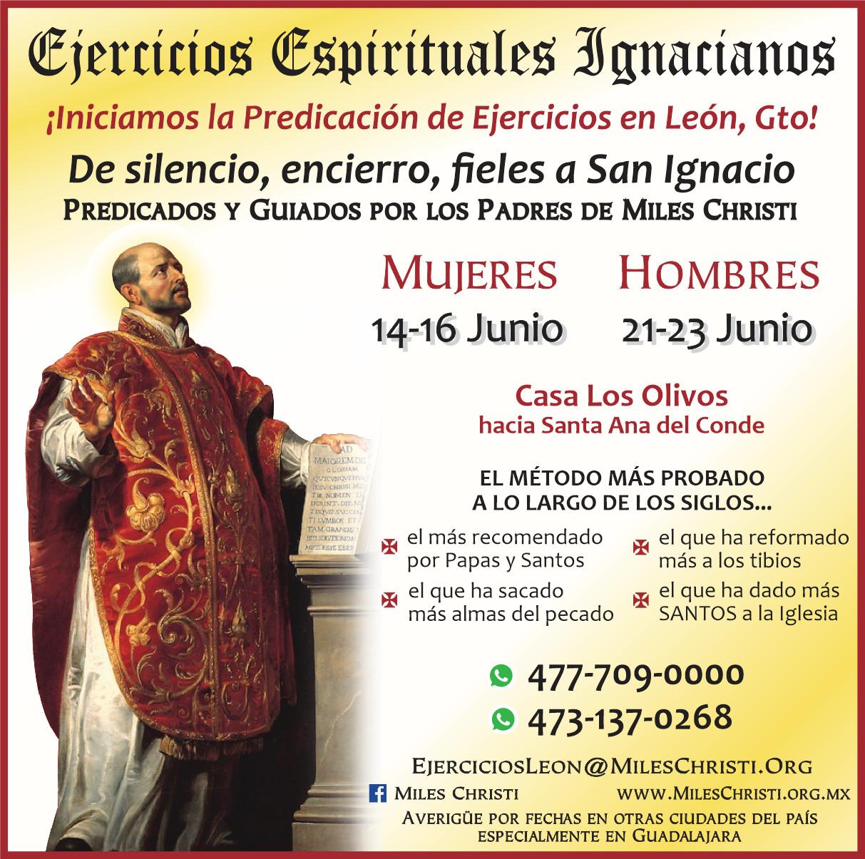 Ejercicios Espirituales Ignacianos en Leon Guanajuato 2019 Miles Christi